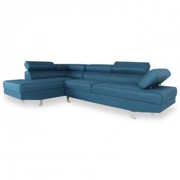 Canapé d'angle gauche avec têtières relevables Charly tissu bleu canard