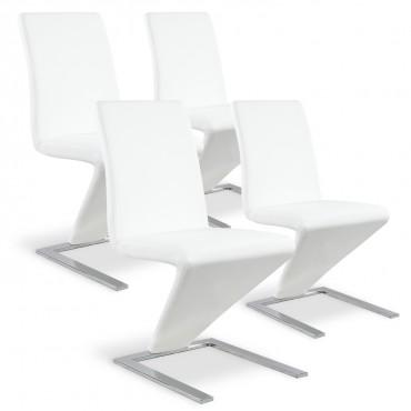 Lot de 4 chaises design Delano Blanc