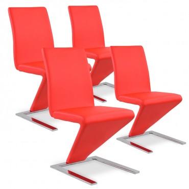 Lot de 4 chaises design Delano Rouge