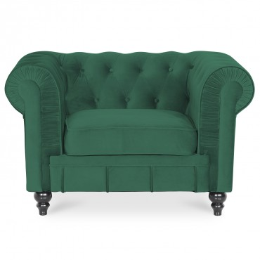 Fauteuil Chesterfield velours Altesse Vert