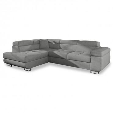 Canapé d'angle gauche convertible Marius tissu Gris