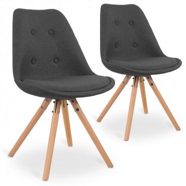 Lot de 2 chaises scandinaves Frida tissu Gris foncé