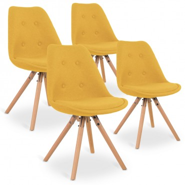 Lot de 4 chaises scandinaves Frida tissu Jaune