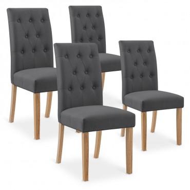 Lot de 4 chaises capitonnées Gaya tissu gris