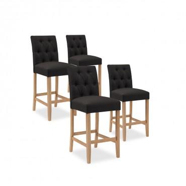 Lot de 4 chaises de bar en bois Gaya tissu Noir - H65cm