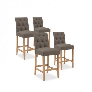 Lot de 4 chaises de bar en bois Gaya tissu Taupe - H65cm