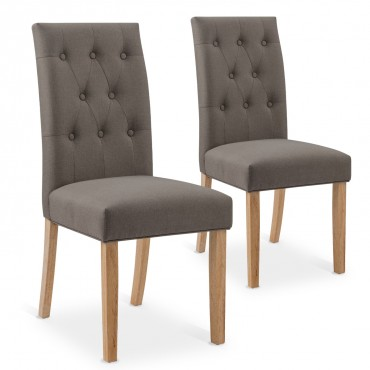 Lot de 2 chaises capitonnées Gaya tissu taupe