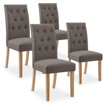 Lot de 4 chaises capitonnées Gaya tissu taupe