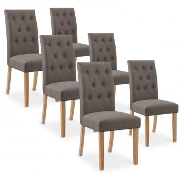 Lot de 6 chaises capitonnées Gaya tissu taupe