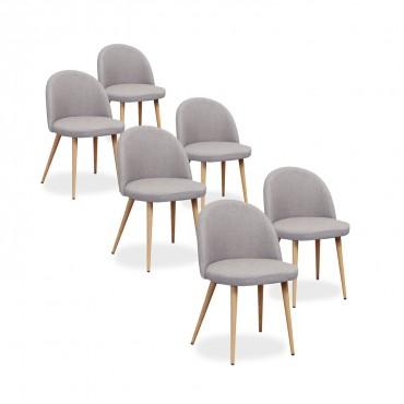 Lot de 6 chaises scandinaves Cecilia tissu Gris