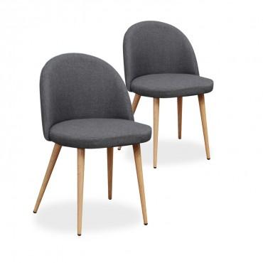 Lot de 2 chaises scandinaves Cecilia tissu Gris foncé
