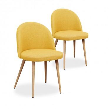 Lot de 2 chaises scandinaves Cecilia tissu Jaune