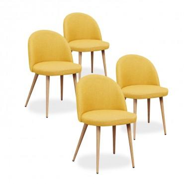 Lot de 4 chaises scandinaves Cecilia tissu Jaune