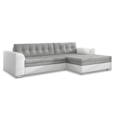 Canapé d'angle droit convertible Lima Gris et Blanc
