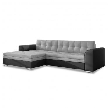 Canapé d'angle gauche convertible Lima Gris et Noir