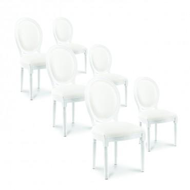 Lot de 6 chaises médaillon Louis XVI simili Blanc