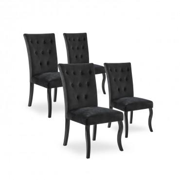 Lot de 4 chaises capitonnées Chaza Velours Noir