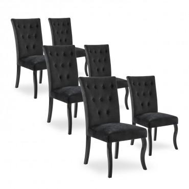 Lot de 6 chaises capitonnées Chaza Velours Noir