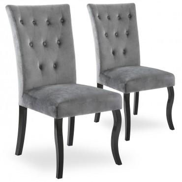 Lot de 2 chaises capitonnées Chaza Velours Gris