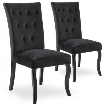 Lot de 2 chaises capitonnées Chaza Velours Noir
