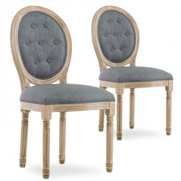 Lot de 2 chaises médaillon capitonnées Louis XVI tissu Gris