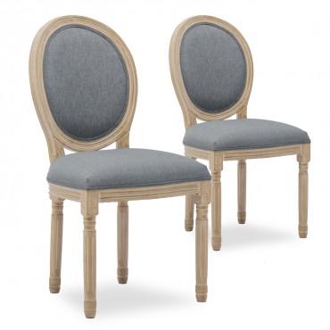 Lot de 2 chaises médaillon Louis XVI tissu Gris