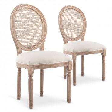 Lot de 2 chaises médaillon Louis XVI Cannage Rotin tissu Beige