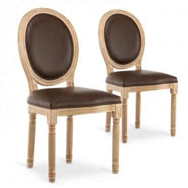 Lot de 2 chaises médaillon Louis XVI Vintage Simili Marron