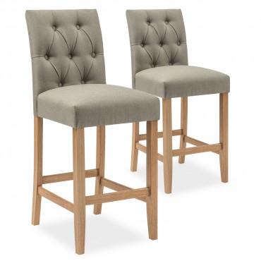 Lot de 2 chaises de bar en bois Gaya tissu Beige - H65cm