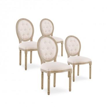Lot de 4 chaises médaillon capitonnées Louis XVI tissu Beige
