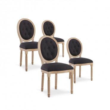 Lot de 4 chaises médaillon capitonnées Louis XVI tissu Noir