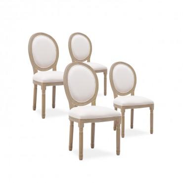 Lot de 4 chaises médaillon Louis XVI tissu Beige