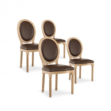 Lot de 4 chaises médaillon Louis XVI Vintage Simili Marron