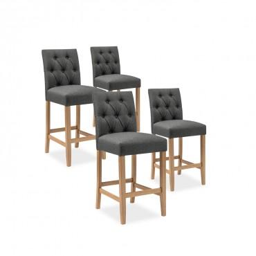 Lot de 4 chaises de bar en bois Gaya tissu Gris - H65cm