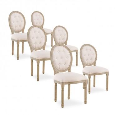 Lot de 6 chaises médaillon capitonnées Louis XVI tissu Beige