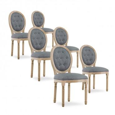 Lot de 6 chaises médaillon capitonnées Louis XVI tissu Gris