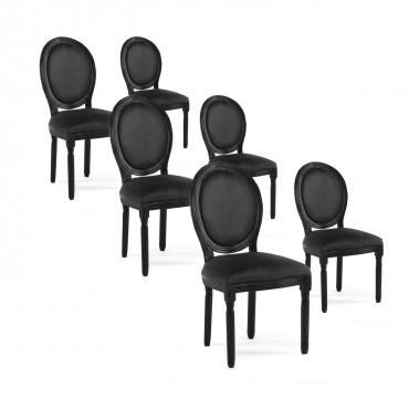 Lot de 6 chaises médaillon Louis XVI velours Noir