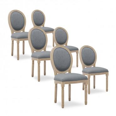 Lot de 6 chaises médaillon Louis XVI tissu Gris