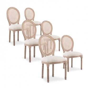 Lot de 6 chaises médaillon Louis XVI Cannage Rotin tissu Beige