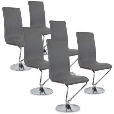 Lot de 6 chaises design Colami Gris