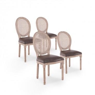 Lot de 4 chaises médaillon Louis XVI Cannage Rotin vintage