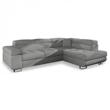 Canapé d'angle droit convertible Marius tissu Gris