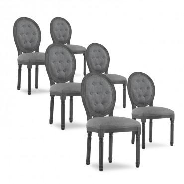 Lot de 6 chaises médaillon capitonnées Louis XVI tissu Gris bois Gris