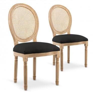 Lot de 2 chaises médaillon Louis XVI Cannage Rotin tissu Noir