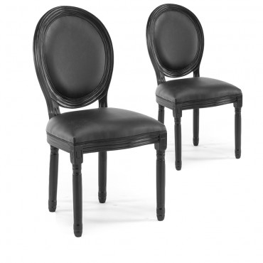 Lot de 2 chaises médaillon Louis XVI simili Noir