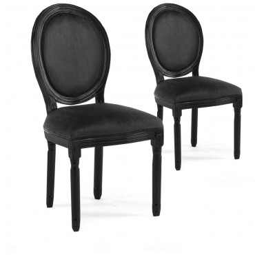 Lot de 2 chaises médaillon Louis XVI velours Noir