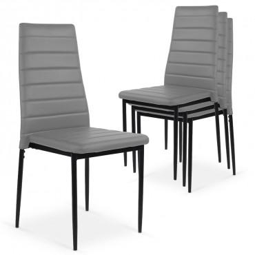 Lot de 4 chaises Strip empilables Gris
