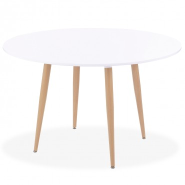 Table ronde style scandinave Ines Blanc