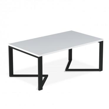 Table basse de style industriel Méryl Blanc mat