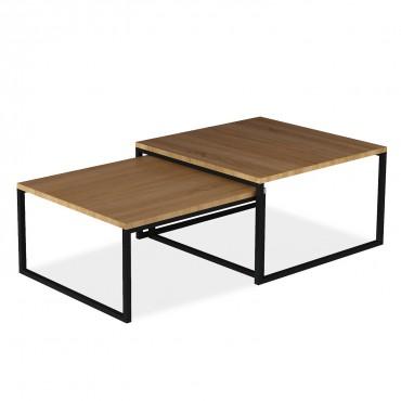 Table basse de style industriel June effet Noyer